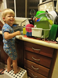 Noah's new favorite job: dishes duty