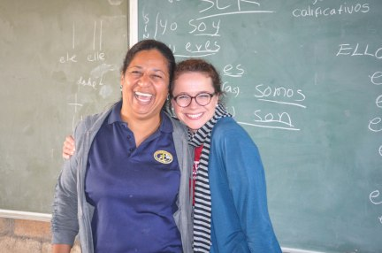 The Suons have arrived! We are so happy to have Becky and her family working with us. She's getting acclimated to school and learning Spanish with Maribel.