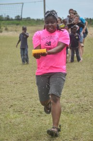 Loudnie during the water relay at camp in the afternoon