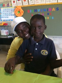 Berwee and his mom in 1st grade.