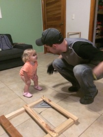 Uncle Lyndell came for a quick visit and fixed our kitchen cabinets!