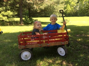 Noah enjoyed taking Caleigh for spins in the family wagon
