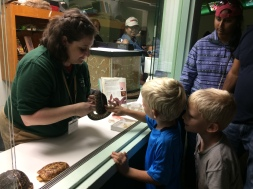 Noah got to touch a snake - Leyton wasn't too sure about it.
