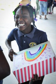 A church from the States blessed each of our students with a shoebox full of hygiene supplies and small toys!