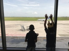 Checking out their first plane land.