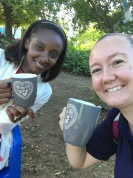 Yuleisy and Rachel enjoying coffee at a Parent-Teacher Conference in Cabeza de Toro