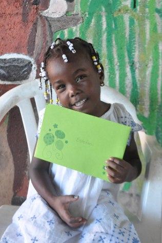 Estefani loving her birthday card from her sponsors!