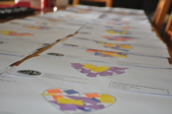 Lots of hearts getting ready to go out to sponsors!