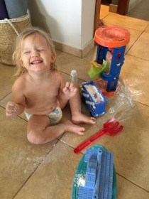 This little one emptied an ENTIRE bottle of baby powder into her toy truck.