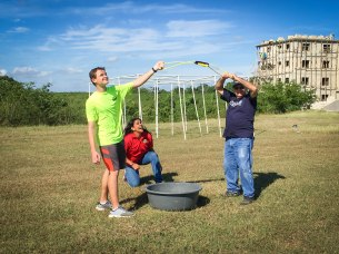 The water ball launch station was a hit on Field Day