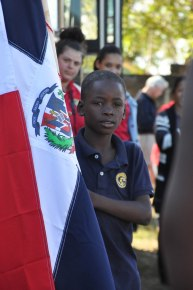 Fourth grader Yefry was one of the flag-bearers