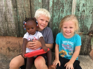 Leyton and Cal in one of our villages for VBS