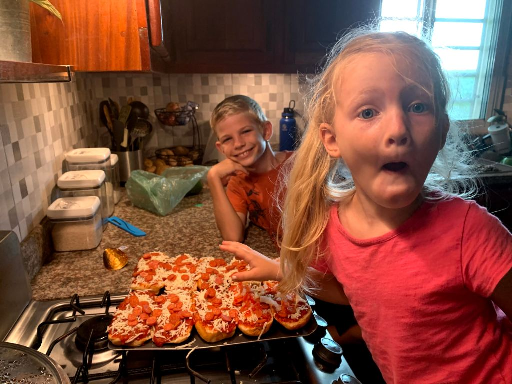 Two silly dinner helpers
